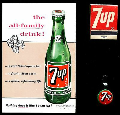 1950's Vintage 7 Up Collectibles-Cooking Guide, Matchbook, Pencil Holder-Sweet!