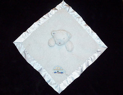 Tiddliwinks Car Bear Blue Sherpa Baby Blanket Satin Security Lovey