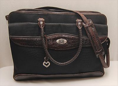Gorgeous Black Brown Laptop Briefcase BRIGHTON Martha Nylon Croc Leather Bag