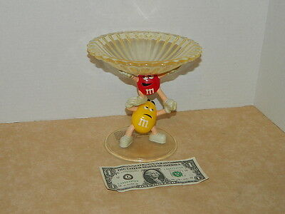 M&M's Yellow & Red Candy Characters Crystallized Acrylic Candy Dish