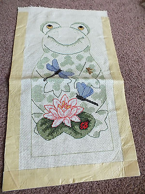 Needlepoint Sampler Complete Ready to Frame Frog Dragonflies Ladybug 9.5 x 4.5""