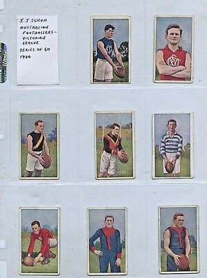 1920 J SCHUH TOBACCO CO 9 ONLY MAGPIE CIGARETTE CARDS VFL PLAYERS GD COND. q82