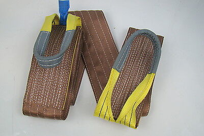 """6"""" x 12' Brown Heavy Duty Nylon Sling Tow Recovery Strap 12,000 lbs Single Ply"""