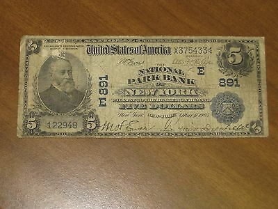 1902 Date Back $5 National Bank Note - National Park Bank New York Charter # 891