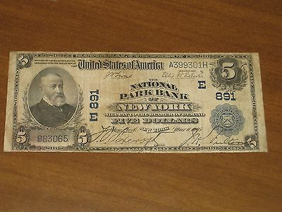 1902 $5 National Bank Note - National Park Bank New York Charter # 891