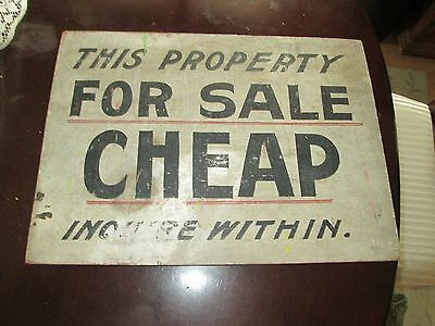 """Antique/Vintage Wooden Sign """"This Property For Sale Cheap, Inquire Within"""" 16x12"""