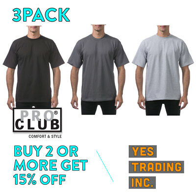 3 Pack Proclub Pro Club Mens Heavyweight T Shirt Plain Short Sleeve Cotton Tee