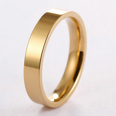 4mm 18k Gold GP Ring Stainless Steel Polished Flat Mirror Finish Mens or Womens