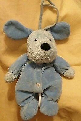 Child Of Mine Blue Dog Puppy Musical Crib Pull Soft Toy Plush Baby
