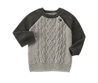 Boys Size 12-18 Months Gymboree Sweater Gray Cable Knit Button Cardigan Spring