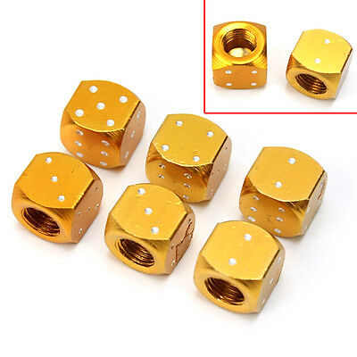 6× Aluminum Metal Dice Bike Car Motorcycle ATV Tyre Tire Wheel Valve Dust Caps.*