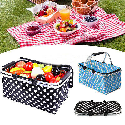 Deluxe Fold Insulated Picnic Basket Hamper Set Corporate Gift Cooler Blanket