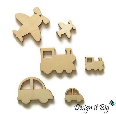 10x Cars, Trains or Jet Aeroplanes Blank Wooden Craft Shapes - Small or Large