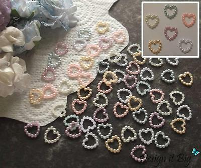 Pearlescent Bead Hearts 11mm Pearl Craft Embellishments Wedding Table Confetti