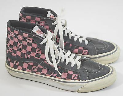 Vintage 1980's Vans Checker Suede Canvas Hi Top Skateboard Shoes Mens 10