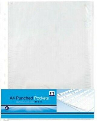 A4 CLEAR PLASTIC PUNCHED POCKETS 80pc WALLETS SLEEVES FILING certificates papers