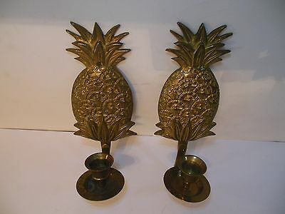 Vintage Pair Lacquered Brass Pineapple  Wall Sconce Candle Holder India