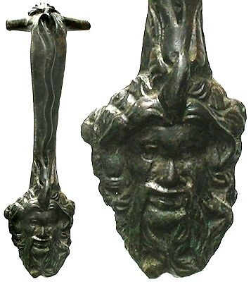 FORVM Greek Bronze Krater(?) Handle Ornamented w/ Head of Dionysos 400-200 BC