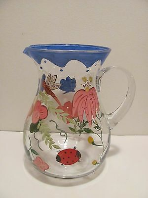 Large Hand Painted Pitcher----Clear Glass