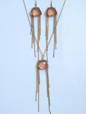 Amber faceted bead/gold chain necklace and earrings set