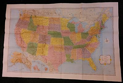 "Vintage Rand Mcnally Vacationland 52"" By 34"" Map Of The United States - Usa"