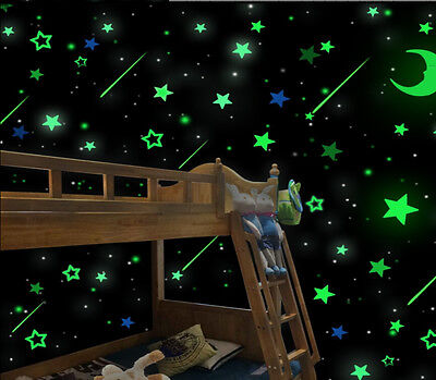 100pack Luminous Stars Fluorescent Stickers 3D Glow In The Dark Wall Stick ST