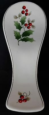 Royal Norfolk White Porcelain Christmas Holly Leaf & Berry Spoon Rest