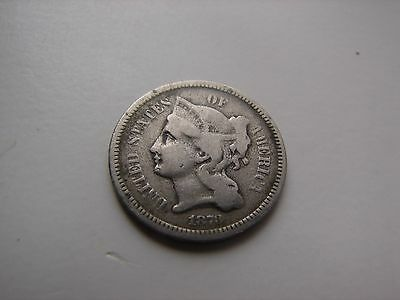 1873 Philadelphia Mint Nickel Three Cent Coin Free Shipping