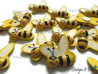 Yellow Bumble Bee Self-Adhesive 3D Stickers Wooden Craft Embellishment Shapes
