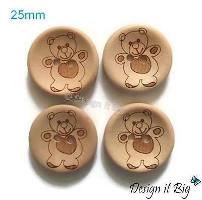 Teddy Bear Wooden Round Sewing Buttons 25mm with 2 Holes - Babies Childrens Kids