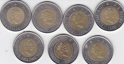 7 - 1996  to 2002  Canadian $2 Dollar Coins Canada Toonie Lot