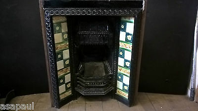 victorian / edwardian cast iron tiled insert with original antique tiles
