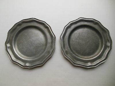 "Vintage Pewter Carson Saucers Renaissance Metalware 7 1/2"" Small Metal Plates"