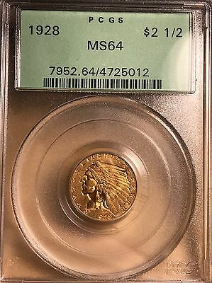 "1928 $2.50 PCGS MS 64 Gold Indian Quarter Eagle PCGS ""OGH"" Amazing Coin"
