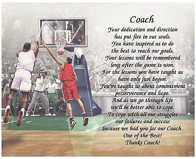 To Our Basketball Coach Personalized Poem End Of The Year Appreciation Gift
