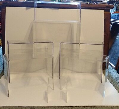 "3 Acrylic Plastic Clear Riser Display Stand 1@ 8.25"" 2@ 10.25"""