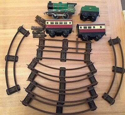"Hornby Meccano ""O"" Gauge No. 31 Passenger Set Clockwork Tinplate Train Set 1950s"
