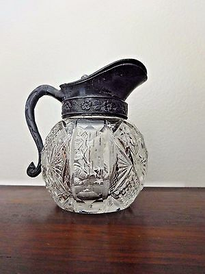 Syrup Pitcher  Antique Late 19th Century Cut Glass Ornate