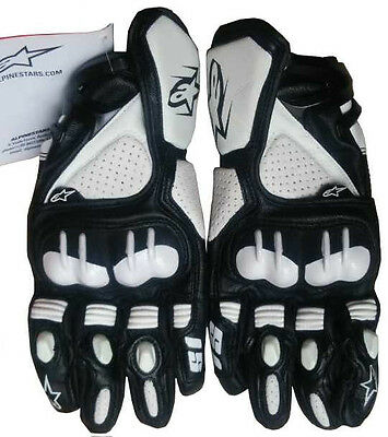 White Leather Riding Street Racing Motorcycle Gloves AG415 Size M