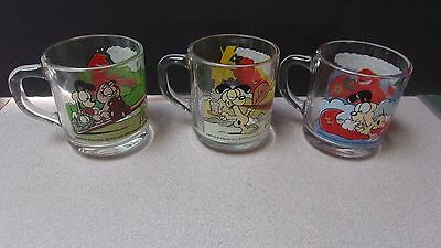 Set Of 3 Vintage Garfield And Odie Mcdonald's Glass  Mugs