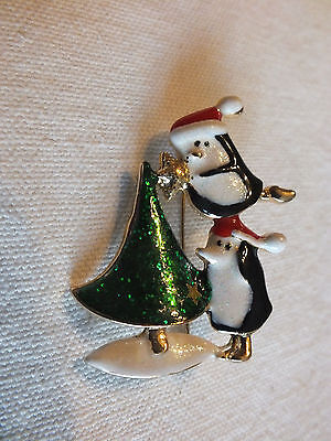 "Christmas Brooch Pin Gold Tone Tree Penguins StarSparkle Enamel 2 x 11/2"" CUTE"