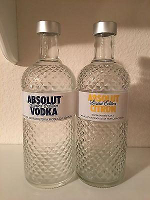 """TWO Limited Edition 750ml ABSOLUT """"Glimmer"""" Bottles - Regular And Citron"""
