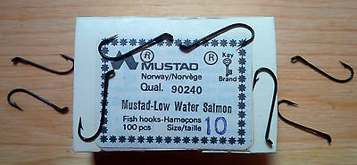 Mustad 90240, Size 10, Package of 100, Salmon, Black, Made in Norway, Fly Hooks