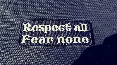 RESPECT ALL FEAR NONE EMBROIDERED BIKER PATCH 1%er Harley Outlaw