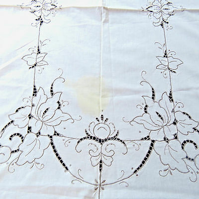 Vintage Hand Embroidered Floral Cotton Tablecloth 69x83 Oblong