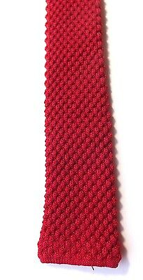 VINTAGE 1950s/60s CHILDS BOYS NECK TIE Skinny Knitted Dark Red MOD FREE P&P