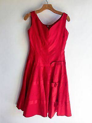 Vintage Red Party Dress Bow Semi Formal Cocktail 1950s VLV