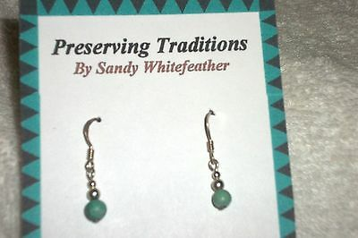 Native American Sterling Silver with Turquoise round earrings handmade Yaqui