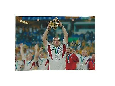 Martin Johnson Signed England Rugby World Cup Winners Canvas 2003 + *coa*