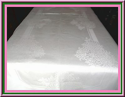 Stunning Antique Irish Linen Damask Banquet Tablecloth 140 By 66 Ins Wow!